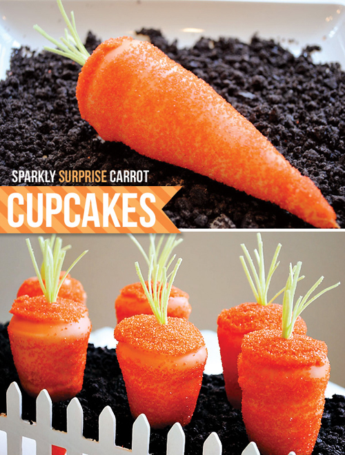 Realistic looking carrot-shaped cupcakes... yum!