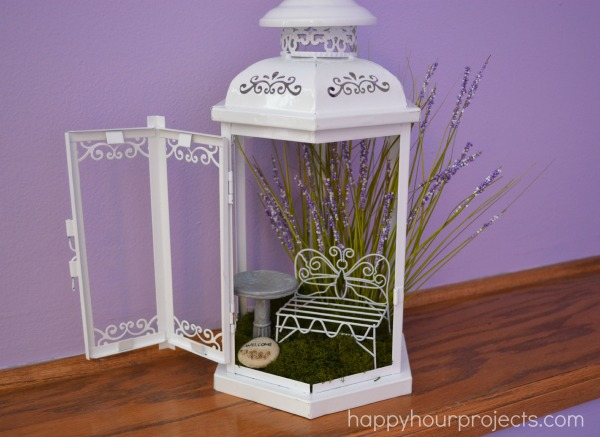Use a lantern as a fairy garden!