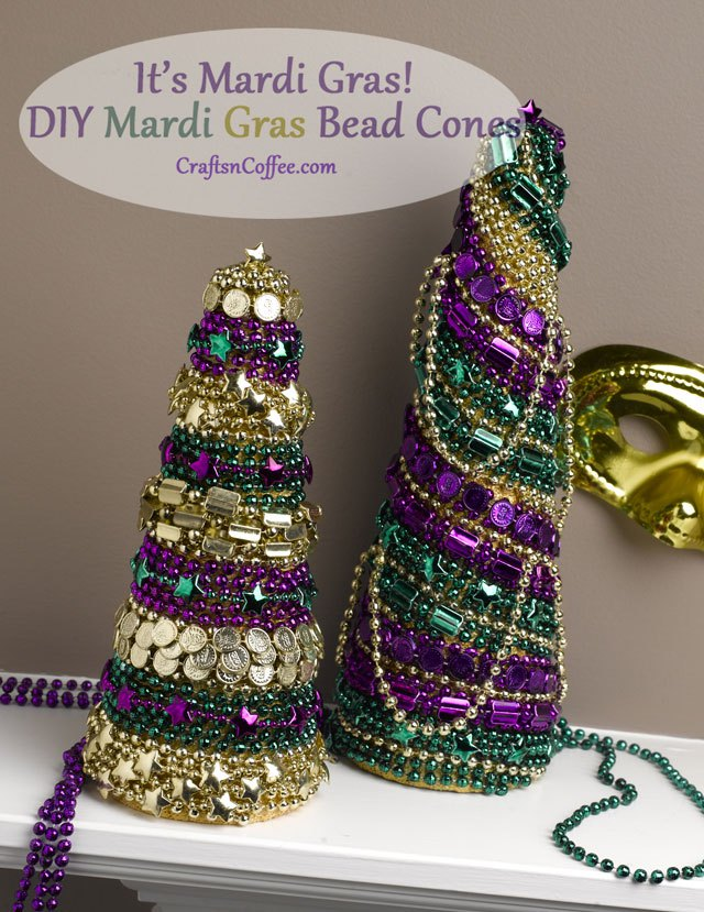 Get the kids to help with these fun DIY Mardi Gras bead cones.